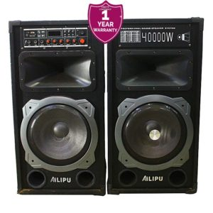 Ailipu 9031DC - 2 System Bluetooth Stereo Speaker/Woofer Wireless Microphone USB SD card- Black