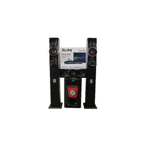Home Theatre Three Speakers 8306+DVD 3017 Multimedia Sub Speaker/Woofer Bluetooth USB Remote- Black