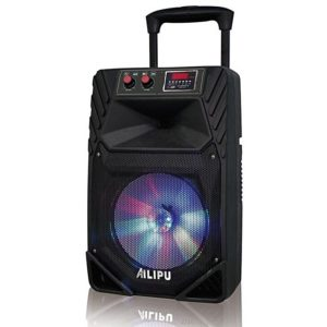 Ailipu 3323 -Rechargeable Powered Speaker/Woofer System with Bluetooth/USB/SD Card Reader/FM Radio/Remote Control/Wireless Microphones