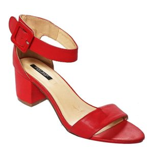 Ankle Strap Low Heel Sandals - Red