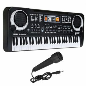 Mini Electronic Piano, FuriGer Digital Music Piano Keyboards 61 Key, Portable Multi-Function Electronic Musical Instrument with Microphone