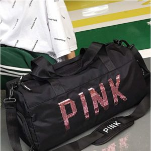 Sports Fitness Bag - Short Travel Bag Large Capacity Handbags Sports Training Bag Dry and Wet Separation Fitness Bag (Pink, Black) (Color : Black)