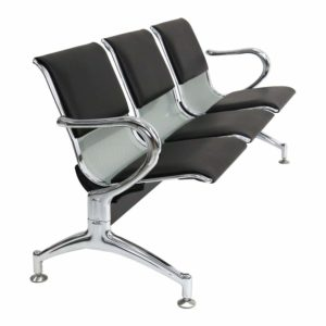 METALLIC BLACK WITH LEATHER WAITING CHAIR