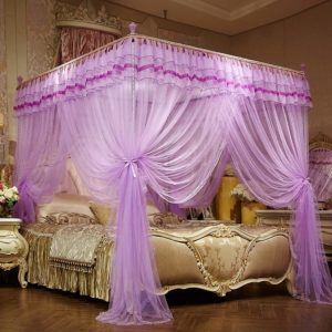 5*6 Luxury Bed Curtains Canopy, Ruffle Tassel 4 Corner Post Mosquito Net, Bed Canopy for Girls Kids Toddlers Crib Adult, Bedding Décor (Queen, Purple)