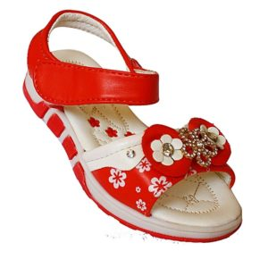 Girl's Flower Design Open Shoes - White, Red