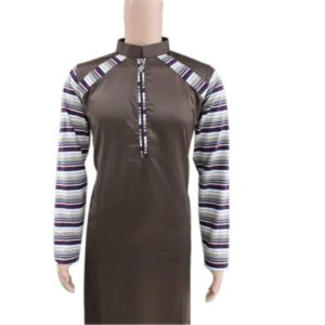 MUSLIM BROWN KANZU WITH STRIPES ON ARMS