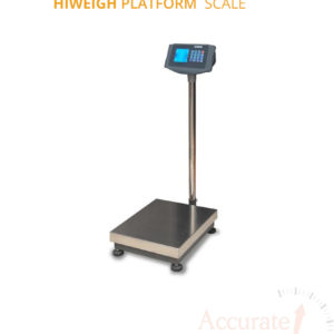 Digital platform weighing scale with a wide stainless-steel column and plate at supplier shop Kampala