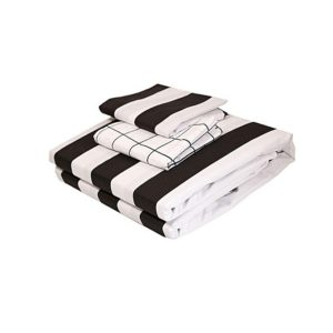 Pam Creations 4Pc – Fitted Bed Sheet Set - 6 x 6 – Black & White