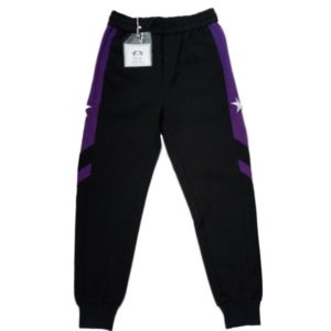 Black And Purple Stripe Casual  Pants