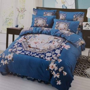 BED-COVER BLUE FLORA