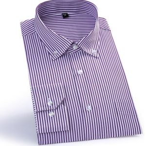 Stripped long sleeve shirt - purple and white