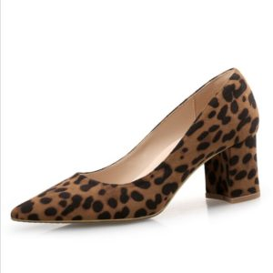 Animal Print Pointed Toe Block Heel Shoes - Brown, Black