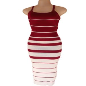 Spaghetti Dress Maroon And White