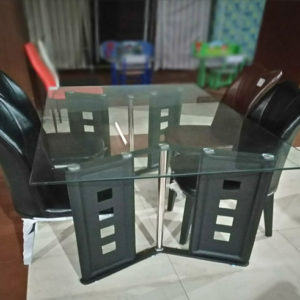 Stylistic 4Seat Dning Table Black Leather Chairs