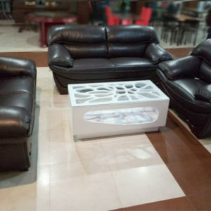 Black Bonded Leather Sofa Set With Table