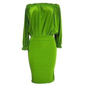 Off Shoulder Ruffle Dress Green