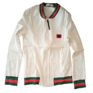 White Designer  Jacket With Gucci Stripes