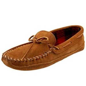 Men's Double Bottom Fleece Slipper Brown Moccasine