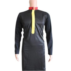 MUSLIM MEN BLACK KANZU WITH A YELLOW DESIGN IN THE CHEST