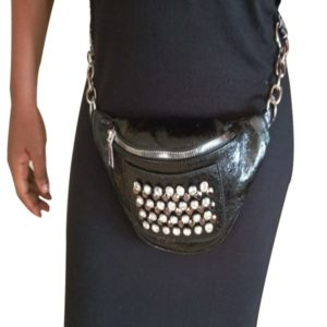 Black leather  Women Waist Bag