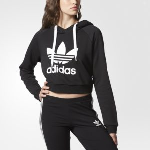 Adidas Originals Women's Cropped Hoodie Blaack And  White