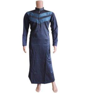 MUSLIM MEN KANZU NAVY BLUE WITH BLUE DESIGNS IN THE CHEST