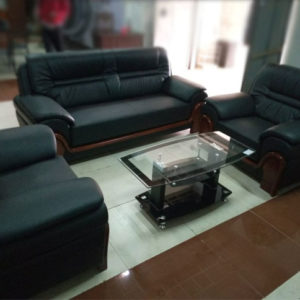 Luxury Simple Sofa For Office And House Use With Traslucent Table